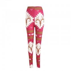 Pink deer printed leggings